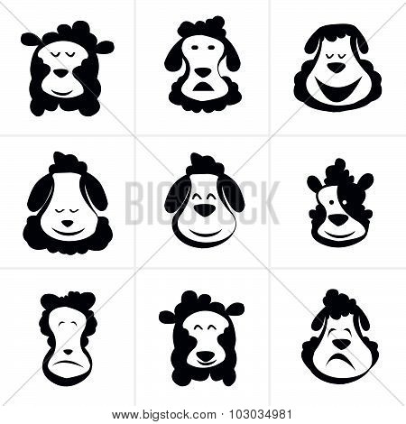Black Silhouette Of Sheep On A Light Background