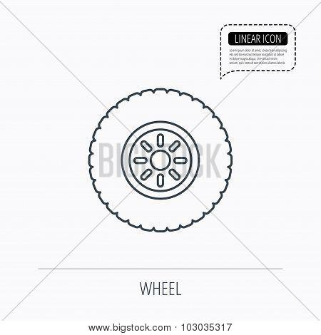 Car wheel icon. Tire service sign.