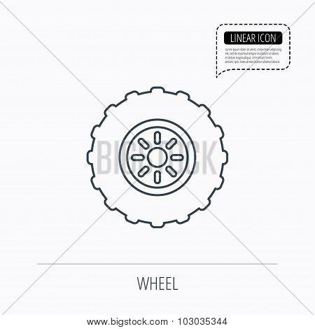 Tractor wheel icon. Tire service sign.