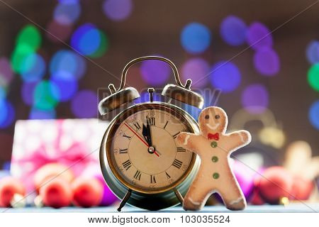 Clock And Cookie With Christmas Lights