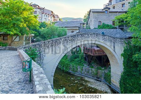 The Crooked Bridge In Mostar