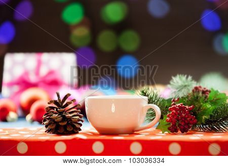 Cup Of Tea And Branch With Christmas Lights