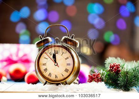 Vintage Clock And Christmas Lights