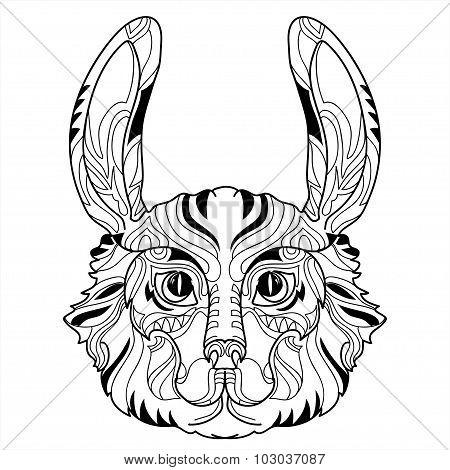 Rabbit head doodle with black nose.