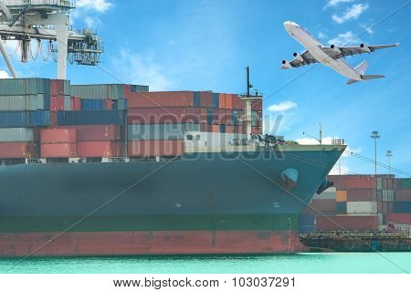 A Flying Plane And A Freight Ship On Transport Background