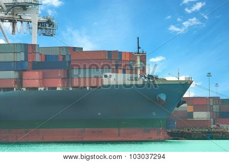 Industrial Container Cargo Freight Ship With Working Crane Bridge In Shipyard At Dusk For Logistic I