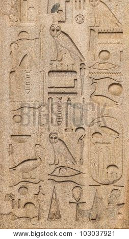 Egyptian Hieroglyphs On An Ancient Obelisk