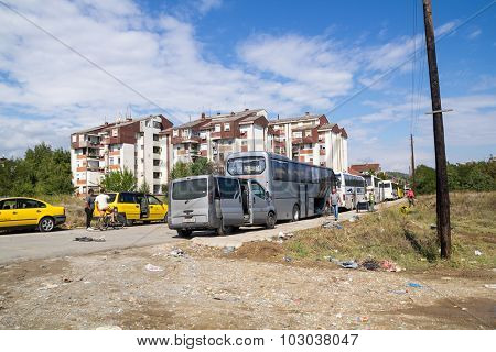 GEVGELIJA, MACEDONIA: SEPTEMBER 11, 2015: Busses for transport of  immigrants and refugees from Middle East and North Africa heading to European countries.