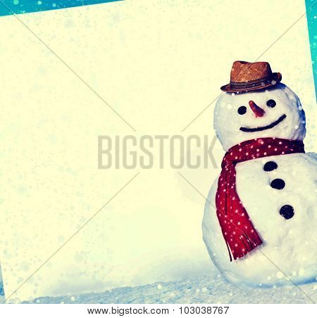 Christmas Snowman Whiteboard Holiday Concept