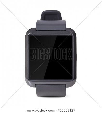 modern smart watch with blank screen isolated on white background