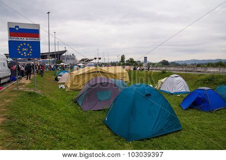 BREGANA, SLOVENIA: SEPTEMBER 19, 2015: Tents of ommigrants and refugees from Middle East and North Africa at Bregana, state border between Slovenia and Croatia.