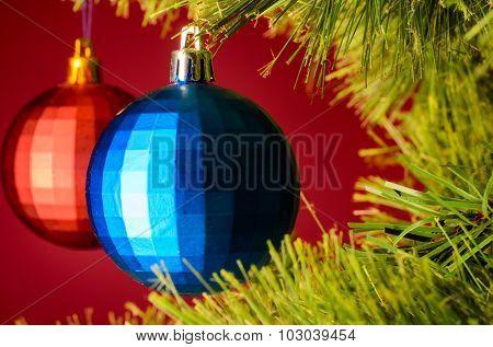 two balls on christmas tree