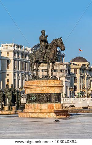 Gotse Delcev horseman monument in Skopje