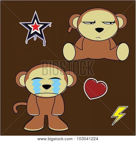 grumpy monkey cartoon expressions set