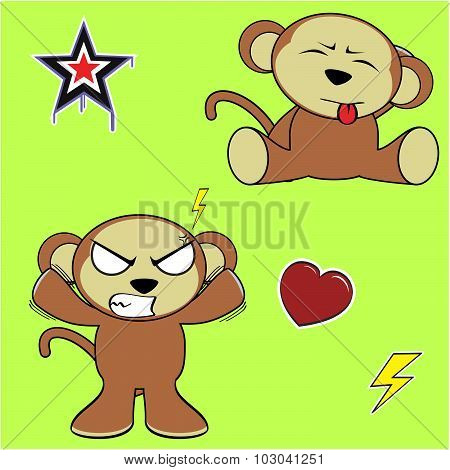 angry monkey cartoon expressions set