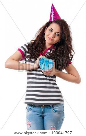 Girl gives a present wrapped in pink gift paper, isolated on white background