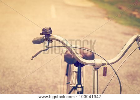 Vintage Bicycle And Brake With Bell With Vintage Tone