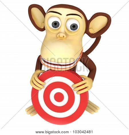 3D Funny Monkey With Red Aim Target