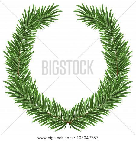 Fir wreath. Green lush spruce branch. Fir branches