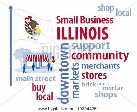 Illinois Flag, Small Business USA, The Prairie State