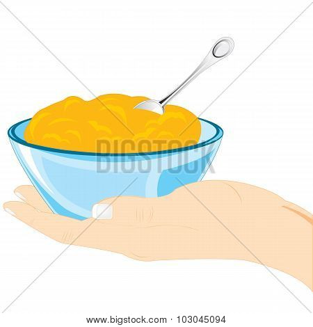 Hand of the person with plate of meal