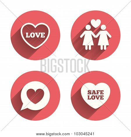Lesbians couple sign. Speech bubble with heart.