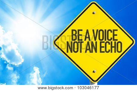 Be a Voice Not An Echo sign with sky background
