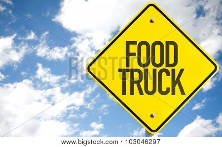 Food Truck sign with sky background