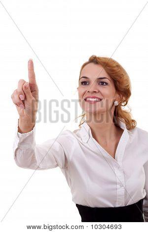 Woman Touching Virtual Pad