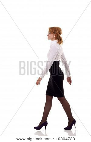 Business Woman Is Walking