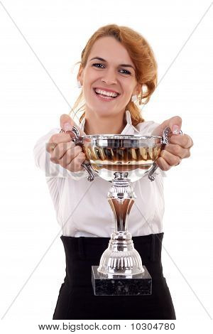 Young Woman Winning A Trophy