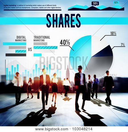 Shares Finance Business Marketing Budget Concept