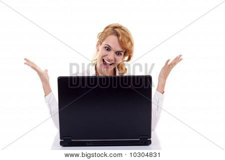Woman Surfing  On The Internet