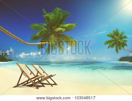 Deck Chair Tropical Beach Summer Paradise Concept