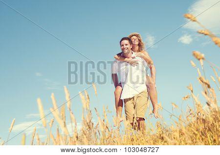 Couple Romance Piggyback Love Relaxing Concept