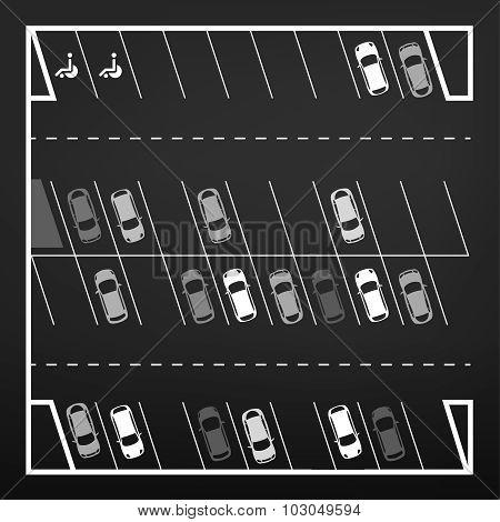 Parking lot top view
