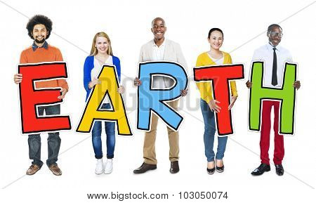 Multi-Ethnic Group of People Holding Text Earth