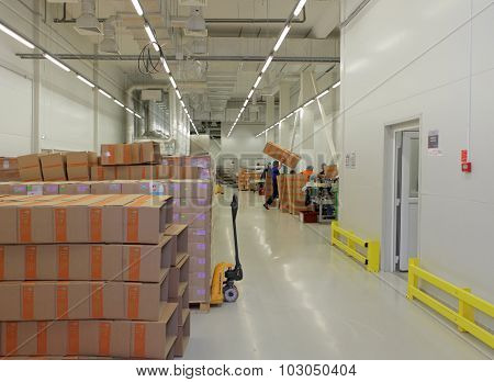 ST. PETERSBURG, RUSSIA - SEPTEMBER 24, 2015: Finished production warehouse on the Solopharm plant. The modern pharmaceutical plant was built in accordance with Good Manufacturing Practice standards