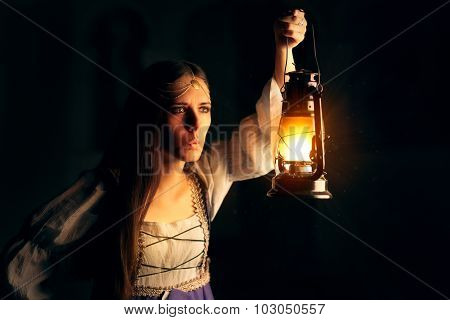 Curious Medieval Princess Holding Lantern Looking Outside