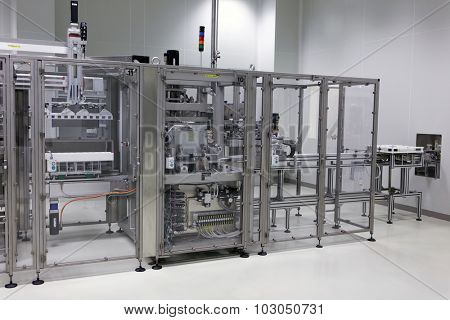 ST. PETERSBURG, RUSSIA - SEPTEMBER 24, 2015: Production of infusion solutions on the Solopharm plant. The modern pharmaceutical plant was built in accordance with Good Manufacturing Practice standards