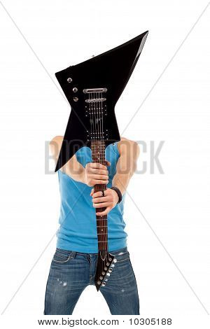 Guitar Over Face