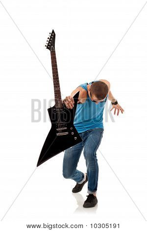 Rock Star Holding An Electric Guitar