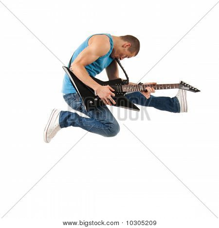 Guitarist Jumps In The Air