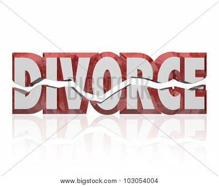 Divorce word in red 3d letters to illustrate a broken marriage or legal separation of husband and wife