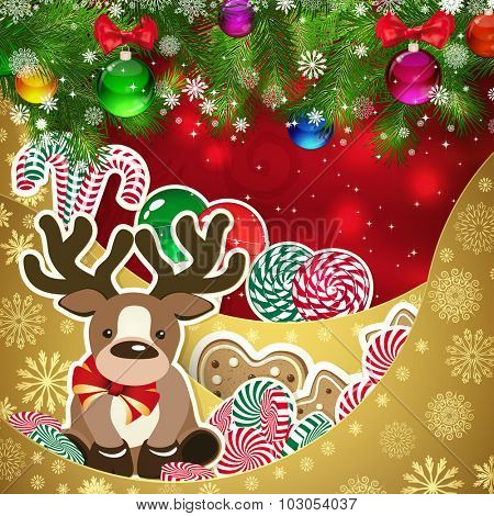 Deer on the background of sweets, decorated Christmas balls branches. Red background and gold layers, decorated with snowflake patterns. Christmas card.