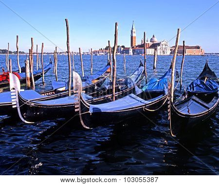 Gondolas on the lagoon, Venice.