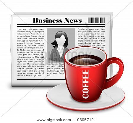 Newspaper With Cup Of Coffee. Vector Illustration