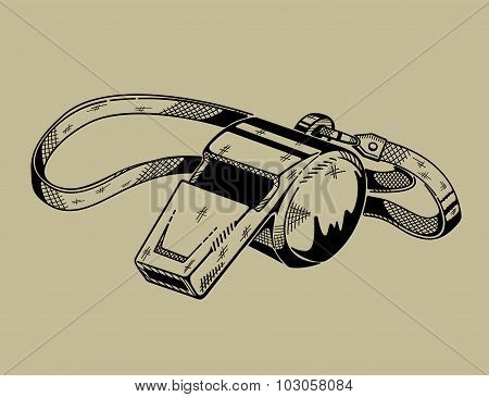 Monochrome illustration of whistle. Sports equipment.