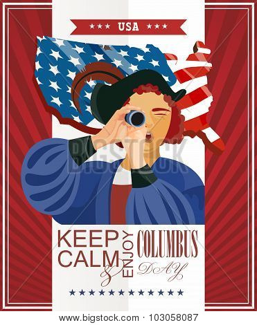 Columbus day poster with Columbus