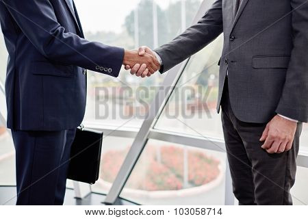 Hands of business partners during handshake